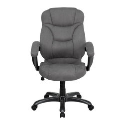 Flash Furniture - High Back Grey Microfiber Upholstered Contemporary Office Chair - This is a very attractive high back office chair that displays contemporary flair. Plush microfiber upholstery provides comfort with the extra thick padded seat and back. Built-in lumbar support will provide comfort when working for long hours. Thickly padded armrests will provide extra comfort. Chair features a titanium nylon base with black caps that prevent feet from slipping. For your next office chair, look no further than this extremely comfortable and stylish microfiber office chair!