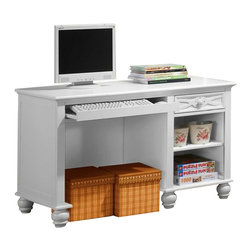 Homelegance - Homelegance Sanibel 47 Inch Writing Desk in White - As breezy as a day at the beach, the modern cottage styling of the Sanibel collection will meld effortlessly with your casual personal style. Diamond overlay curves throughout the entire collection - capping the headboard then carrying on to the gracefully bowed case pieces. The versatility of the design lends to the perfect placement in a master suite, guest or child s bedroom. The collection is offered in Black or White.