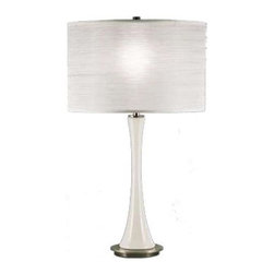Robert Abbey - Robert Abbey-3341-Kate - One Light Glass Table Lamp - Polished Nickel Finish with White Glass with White Pleated Organza Shade