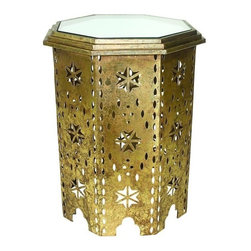 "Iron Moroccan Design Side Table - Italian Gold Cut Out Iron Moroccan Design Octagonal Side Table with Mirror Inset Top Hand crafted by master craftsmen from iron & mirror. Hand-finished in a multi-step process 19"" wide/19"" deep/25.25"" tall Weight: 19 pounds 8 ounces."