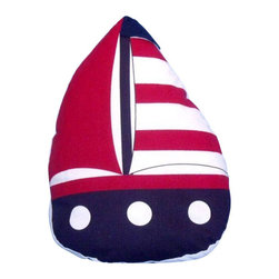 """Handcrafted Model Ships - Red with Red Stripes Sailboat Door Stopper 10"""" - Decorative Door Stopper - The Red with Red Stripes Sailboat Door Stopper 10"""" allows you to show your love for sail boating and keep your door propped open. Beautifully hand stitched, this sailboat door stopper is a great way to allow the a ray of light inside on a nice warm summer day. This is the perfect nautical gift for a relative, friend, or coworker. This door stop is fully functional and a great gift for the true nautical enthusiast in your life. This nautical door stop has a weight of 2.5 lbs."""