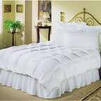 None - White 230 Thread Count Down Alternative Comforter - This cozy white down alternative comforter is the perfect showpiece for your bedroom. Soft 230-count cotton is decorated with a box-stitch quilted design to give it fullness. Filled with polyester for warmth, you will never have a chilly night again.