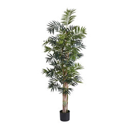 Nearly Natural - 6 ft. Bamboo Palm Silk Tree - An iconic representation of the tropics. Dream of relaxing under a beach palm. Features 776 lush flowing leaves. Construction Material: Polyester material, Iron wire, Plastic. 30 in. W x 30 in. D x 72 in. H ( 16 lbs. ). Pot Size: 7 in. W x 6 in.HEight trunks of palms at six feet high, this iconic representation of the tropics is a must have for any who dreams of relaxing under a beach palm with coconut drink in hand. 776 lush and beautiful long flowing emerald leaves interwoven together provide a relaxing aesthetic to any home or office while reminding one of a thick tropical jungle. Comes with black pot and faux soil for worry-free maintenance.