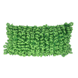 Funberry Green Solid Pillow - Hand woven poly nubs pillow.
