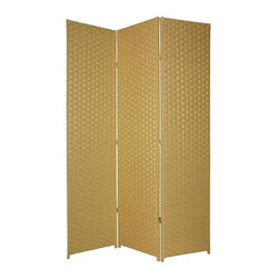 Oriental Unlimited - 7 ft. Tall Frameless Woven Fiber Room Divider - Choose No. of Panels: 6 Panels / Dark BeigeHighlighted by a timeless Asian inspired design, this window pane style Shoji screen will bring elegance and grace to any decor. Constructed of three spruce framed panels with two-way hinges between them, the screen is ideal for large spaces and features a rice paper screen. Double hinged for the maximum design flexibility. Screen has a 3 cm. weave and 1.5 in. legs. Each panel: approximately 19.5 in. W x 0.75 in. D x 84 in. HThis natural 7 ft. Tall Woven Fiber Room Divider brings an earthy, serene feeling to any room. It's made of a wooden fiber mesh material in a frameless design.