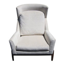 """Pre-owned Ralph Pucci Style White Club Chair - Inspired by the greats - Ralph Pucci and Jens Risom, this large contemporary club chair has clean Mid-Century lines and a walnut frame. It is new, and in excellent condition with comfortable seat and back cushions that are loose from the frame.    Measures:  Height: 43""""; Width: 38.5"""";   Depth: 35""""; Seat height: 18"""";   Seat depth: 21.5"""""""