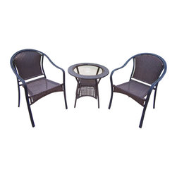 Oakland Living - Oakland Living Tuscany Resin Wicker 3-Piece Set in Coffee - Oakland Living - Patio Bistro Sets - 90079C90048T3CF - About This Product: