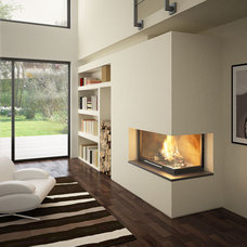 Contemporary corner fireplace (closed hearth) - GALBE LATERAL - TOTEM fire