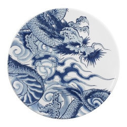 """InkDish - Irezumi Side Plate (Set of 4) - Features: -Made from porcelain. -Eco-friendly. -Traditional blue and white pattern. -Number two in the ultimate Metropolitan Home Design 100. -Iconic Japanese inspired imagery. -Microwave and dishwasher safe. -Dimensions: 1"""" H x 8"""" W x 8"""" D."""