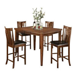 """Asia Direct - 5-Piece Rubbed Walnut Finish Counter Height Dining Table Set - 5-piece rubbed walnut finish counter height dining table set with grid panel back and upholstered seat chairs. This counter height dining set contains: (1) Table measures: 42""""x 42""""-54""""x 36""""H and (6) Side chairs measures: 18.75""""x 21 5/8"""" x 42""""H. Some assembly may be required."""