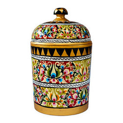 Brilliant Imports - Handpainted Floral Canister - Made by the same artisans who handpaint our lovely offering trays, these ornately painted and absolutely stunning canisters (and lid!) are the ideal home to stash your most cherished treasures in.  Let us know what you use yours for - we would love to hear!  Painted in a tantalizing array of colors with a matching lid.