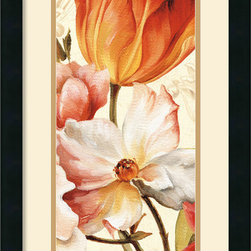 Amanti Art - Poesie Florale Paneal I Framed Print by Lisa Audit - Decorate with springtime tulips and poppies year round with this garden floral piece by Lisa Audit.