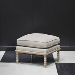 My Two Designers - Rupert Ottoman - Classic bobbin ottoman to match our Rupert Occasional Chair, in a Natural White Wash finish. The French linen fabric cases the cushions for comfort. This family-run furniture company features pieces inspired from classic handcrafted antiques to 19th century-style pieces. The quality and the finishes are top of the line.