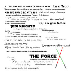 Dana Decals - Star Wars Quote Collection Wall Decal - Star Wars Quote Compilation Collection with Light sabers