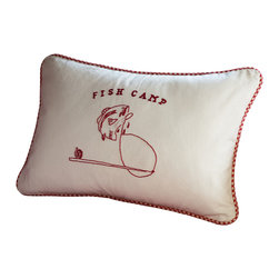 Taylor Linens - Fish Camp Embroidered Pillow - Capture the carefree days of summer all year long with this charming throw pillow. Beautifully hand-embroidered and trimmed with gingham piping, it's machine washable and comes with a goose feather and down insert. A perfect addition to the cabin or den, it would also make a marvelous gift for that angler on your list.