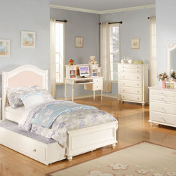 None - Solid Pink Zoe Twin Panel Bed,Headboard Footboard & Rails - This solid pink kids' panel bed set is made from durable,beautiful pine wood. This item features scalloped,turned legs.