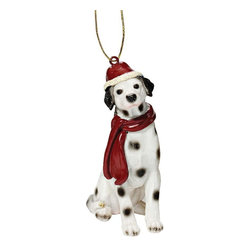 """EttansPalace - Dalmatian Holiday Dog Ornament Sculpture - With a festive Santa hat and red scarf, this adorable Dalmatian dog ornament has neither a """"bark"""" nor a """"bite"""" worth worrying over! Our Dalmatian dog ornament is realistically sculpted, cast in quality designer resin and hand painted for the """"discriminating dog lover"""". The perfect canine gift for Dalmatian dog aficionados and a fun way to include your pets in holiday decorating! Approx. 2.5""""W x 1.5""""D x 3.5""""H. .5 lb."""