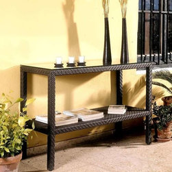 Hospitality Rattan - Soho Patio Console Table w Lower Shelf - Wick - This patio console table features a durable aluminum frame with a woven wicker exterior, so you never have to worry about fading or rusting even with harsh weather conditions. The sleek lines add an elegant touch to any setting area. Perfect in an entryway or beside a sofa. Color shown is not accurate . See additional image as an example of the EXACT product color. This product is warranted for outdoor use. Constructed of an aluminum frame wrapped in woven rehau fiber. Plexiglass is used as support underneath wicker weave. Weather and UV resistant. Rehau Fiber java brown finish. Matching seating group and pub set available. Multi Shelf Design. 48 in. W x 18 in. D x 32 in. H (25 Ibs.)The Soho Collection is a sleek contemporary collection that offers a unique see-through modular sectional that allows endless possibilities ranging from a sofa, loveseat, armless chair setup, to a standard sectional. The Soho Collection offers a fully anodized aluminum frame, which is then woven with Rehau Java Brown fiber. Its unique look and multi-colored textured surface make it one of the most attractive collections for outdoor use. The Soho Collection only requires cushions for the seating pieces. The balance of the collection can be used without cushions. Table tops are fully woven and offer reinforced plexiglass undersides for enhanced sturdiness. The large round dining table accommodates an umbrella. The Soho armchair and chaise lounges are all stackable items. The cushions used on the Soho collection are available with synthetic outdoor fabrics including Sunbrella. Most importantly the quality of the Soho collection makes it ideal for contract settings.