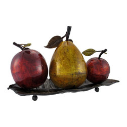 Zeckos - Metal Fruit on Tray Table Centerpiece - This beautifully crafted centerpiece is a colorful accent to any table. It features a golden pear, flanked by two shiny red apples, atop a leaf shaped tray. Made of metal, it measures 11 inches tall, 19 inches long, 10 inches wide, and has foam pads on the bottom of the feet to prevent scratching delicate surfaces. It is painted with metallic enamel paints that add shine and depth to the piece, making lovely to display anywhere in your home.