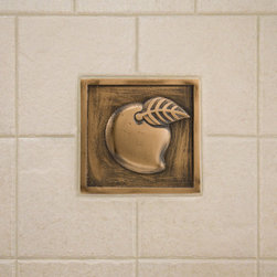 """4"""" Solid Bronze Wall Tile with Mango Design - Featuring a decorative mango design, this 4"""" wall tile will add a charming focal point to any room. This wall tile is made of solid bronze and is a Signature Hardware exclusive."""