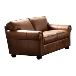 Diamond Sofa - Rexford Bomber Brown Blended Leather Loveseat - A gathering place for friends and family, this loveseat boasts chic styling with sleek curves and clean lines. The pocketed coil system will give a supple seating. The elastic webbing back suspension provides additional stability, allowing the leather to breathe and maintain its shape.