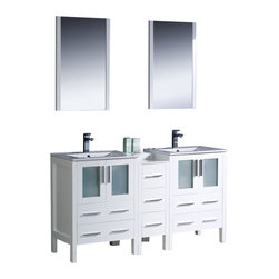 """Fresca - Fresca Torino 60"""" Double Sink Bathroom Vanity, White - Fresca is pleased to usher in a new age of customization with the introduction of its Torino line. The frosted glass panels of the doors balance out the sleek and modern lines of Torino, making it fit perfectly in either 'Town' or 'Country' décor. Available in the rich finishes of Espresso, Glossy White, Walnut and Light Oak."""