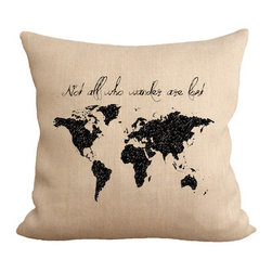 "Fiber and Water - Wander Pillow - ""Not all who wander are lost."" - J.R.R. Tolkien quote. Great for the traveler. Hand-pressed onto natural burlap using water-based inks."