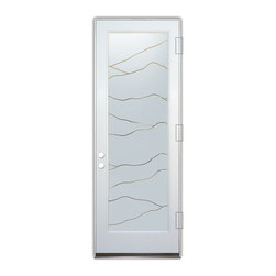 Sans Soucie Art Glass (door frame material Plastpro) - Glass Front Entry Door Sans Soucie Art Glass Abstract Hills - Sans Soucie Art Glass Front Door with Sandblast Etched Glass Design. Get the privacy you need without blocking light, thru beautiful works of etched glass art by Sans Soucie! This glass is semi-private. Door material will be unfinished, ready for paint or stain.Bronze Sill, Sweep and Hinges. Available in other finishes, sizes, swing directions and door materials.Tempered Safety Glass. Cleaning is the same as regular clear glass. Use glass cleaner and a soft cloth.