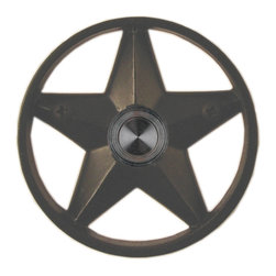 "Waterwood - Brass Lone Star 3 1/4"" Doorbell in Black - The Waterwood Lone Star doorbell is a symbol of Texan independence. Displaying this doorbell will help you project a spirit of individualism from the front door of your home. This solid brass doorbell is crafted using the sand casting technique. It is then hand finished and coated with a protective laquer to withstand the elements. Waterwood doorbells are easy to install and will add personality to your home. It comes with a lighted push button and mounting screws."