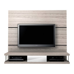 Manhattan Comfort - Metropolitan Entertainment Center, Nature White - Host parties and events in your living room and receive many compliments on this attractive piece of furniture. The Metropolitan TV stand is convenient for all your entertainment needs. With two cubbyholes for your cable box and DVD player, and one mirrored center drawer to hold miscellaneous items, this TV stand is modern and will lend a rugged feel to your living space. Conveniently hang your TV without damaging the walls. Choose from 3 colors to match your decor. Featuring a Pro-Touch High definition, ultra-resistant finish with the texture of natural wood, and stylish wood patterns. The unique paint is protected by the Microban Antibacterial Protection.