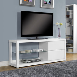 """Monarch Specialties - Monarch Specialties White Hollow-Core 60 Inch TV Console / Tempered Glass - Enhance your living space with this modern, white, 60"""" long TV console. Featuring a chic tempered glass center shelf and 2 generously sized storage drawers; this tv console is functional without sacrificing style.  Thick panels and clean lines complete the look and make this piece the perfect addition to any home."""
