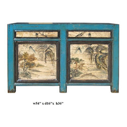 Chinese Blue Lacquer Ink Scenery Console Sideboard Table - This is an old cabinet restored with modern blue lacquer surface. The front graphic is oriental ink brush water mountain scenery.