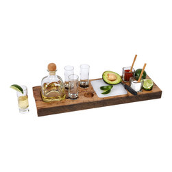 Tequila Buffet - Tequila Buffet - The platter is handcrafted from beams of wormy chestnut salvaged from dismantled barns and homes of the southern Appalachians. Tiny holes bored by insects are common in the milled lumber of American chestnut, a tree decimated by an imported fungus a century ago. The 1 1/2-inch thick board is a 1/2-foot wide and 20 inches across. In addition to a depression cut to fit a pint of Patron (bottle not included), the Tequila Buffet comes with a cutting board, salt bowls, paring knife and dedicated notches to stash tequila's little helpers: lime and salt.