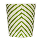 Worlds Away Oval Wastebasket, Green and Cream Zebra Design - Oval Wastebasket, cream and green zebra