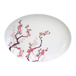Ink Dish - Cherry Ink 14-inch Serving Platter by Paul Timman - This platter would be perfect for serving up something sweet. The painterly cherry blossoms have been designed to reflect the Japanese style of tattooing known as Sumi and evoke the iconic symbol of springtime. The shades of pink and purple would complement any number of elegant meals.