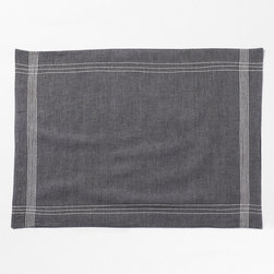 "Coyuchi - Coyuchi Simple Stitch Chambray Charcoal Placemat - The Coyuchi Simple Stitch chambray placemat introduces contemporary sophistication to a table. Across a charcoal gray background, intersecting white lines form a fresh, minimalist border. 20""W x 14""H ; Yarns dyed sightly different hues before weaving; 100% organic cotton and linen; Set of four; Machine washable"