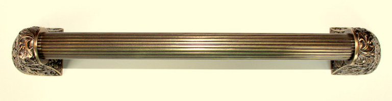 "Appliance Pulls - Florid Leaves Appliance Pull in Antique Brass 16"" overall, 12"" c to c, Fluted Bar"