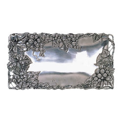 Arthur Court - Grape 6 x 12 Bread Tray - Display a hearty loaf of fresh bread with a side of fresh butter or cheese on this shiny aluminum tray. Embellished with ornate vines and grapes, it stands out on its own or can be paired with the coordinating bowls, plates and accessories for the perfect Thanksgiving and holiday serving collection.
