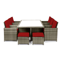 "Reef Rattan - Reef Rattan Amalfi 13 Pc Cube Dining Set - Natural Rattan / Red Cushions - Reef Rattan Amalfi 13 Pc Cube Dining Set - Natural Rattan / Red Cushions. This patio set is made from all-weather resin wicker and produced to fulfill your needs for high quality. The resin wicker in this patio set won't fade, shrink, lose its strength, or snap. UV resistant and water resistant, this patio set is durable and easy to maintain. A rust-free powder-coated aluminum frame provides strength to withstand years of use. Sunbrella fabrics on patio furniture lends you the sophistication of a five star hotel, right in your outdoor living space, featuring industry leading Sunbrella fabrics. Designed to reflect that ultra-chic look, and with superior resistance to the elements in a variety of climates, the series stands for comfort, class, and constancy. Recreating the poolside high end feel of an upmarket hotel for outdoor living in a residence or commercial space is easy with this patio furniture. After all, you want a set of patio furniture that's going to look great, and do so for the long-term. The canvas-like fabrics which are designed by Sunbrella utilize the latest synthetic fiber technology are engineered to resist stains and UV fading. This is patio furniture that is made to endure, along with the classic look they represent. When you're creating a comfortable and stylish outdoor room, you're looking for the best quality at a price that makes sense. Resin wicker looks like natural wicker but is made of synthetic polyethylene fiber. Resin wicker is durable & easy to maintain and resistant against the elements. UV Resistant Wicker. Welded aluminum frame is nearly in-destructible and rust free. Stain resistant sunbrella cushions are double-stitched for strength and are fully machine washable. Removable covers made with commercial grade zippers. Tables include tempered glass top. 5 year warranty on this product. Table: W 77"" x D 49"" x H 30"", Chairs (6): W 25"" x D 23"" x H 38"", Foot Stools with Cushions (4): W 20"" x D 20"" x H 15"""