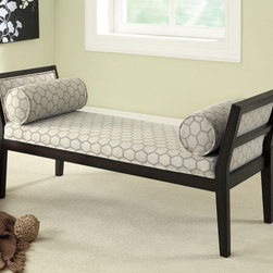 Coaster - Bench, Off-White Hexagon Pattern - Add this off white bench to any contemporary living room or bedroom. Featuring a simple and modern hexagon pattern on the padded bench seating and included lumbar pillows. Legs and frame finished in cappuccino.