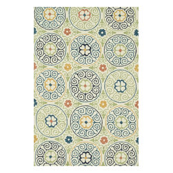 """Loloi Rugs - Loloi Rugs Tropez Collection - Ivory/Multi, 5'-0"""" x 7'-6"""" - �Set the foundation for an island lifestyle with our Tropez Collection. Hand hooked in China of 100% polypropylene, Tropez features tropical inspired design with trending-now colors suited for outdoor living. Take a closer look (or zoom in), and you'll notice the use of mixed yarns that give Tropez a refined color blend. And like all of our indoor/outdoor rugs,Tropez is easy to clean and will withstand any rain or sunshine."""