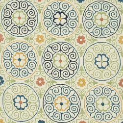"""Loloi Rugs - Loloi Rugs Tropez Collection - Ivory/Multi, 3'-6"""" x 5'-6"""" - �Set the foundation for an island lifestyle with our Tropez Collection. Hand hooked in China of 100% polypropylene, Tropez features tropical inspired design with trending-now colors suited for outdoor living. Take a closer look (or zoom in), and you'll notice the use of mixed yarns that give Tropez a refined color blend. And like all of our indoor/outdoor rugs,Tropez is easy to clean and will withstand any rain or sunshine."""