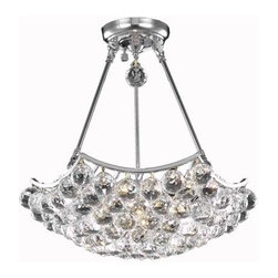 """PWG Lighting / Lighting By Pecaso - Taillefer 8-Light 18"""" Crystal Chandelier 8332D18C-EC - Bubbling ball crystals from the Taillefer Collection creates a sea of sparkling drops. Whether used in an entry hall, a dining room or in a powder room, Taillefer fills a space with drama and creativity."""