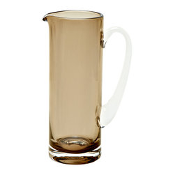 Basis Pitcher, Mocha - The simple and contemporary style of this mocha-colored glass pitcher remains an all year round favorite. Its mouth-blown opening offers round edges for a softer look and easy pouring.Designedby Monika Lubkowska-Jonas. Handmade in the EU.