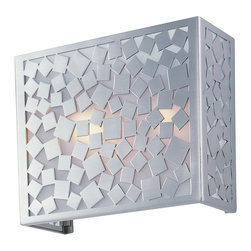 Matrix-Wall Sconce - A pattern of squares finished in Satin Nickel create a contemporary, geometric look which will enhance any space. The interior of each shade is lined with Frosted glass for a soft diffused light.