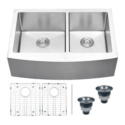 "Ruvati - Ruvati RVH9201 Apron Front 16 Gauge 33"" Kitchen Sink Double Bowl - Elegant, apron-front farmhouse kitchen sinks are a bold addition to any kitchen. Deep, rectangular bowls with bottom drain grooves and a curved apron front define the Verona series."