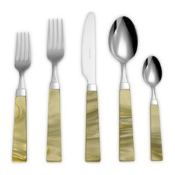 Euro Ceramica - Euro Ceramica Charme 5-Piece Flatware Place Setting in Green - A modern shape and unique, colorful details make this flatware a beautiful addition to any table. The 18/10 stainless steel flatware has a mirror finish and a squared pearlized acrylic handle with a marbled effect for added interest.