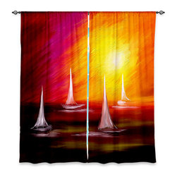 "DiaNoche Designs - Window Curtains Lined by Tara Viswanathan Sail Away - Purchasing window curtains just got easier and better! Create a designer look to any of your living spaces with our decorative and unique ""Lined Window Curtains."" Perfect for the living room, dining room or bedroom, these artistic curtains are an easy and inexpensive way to add color and style when decorating your home.  This is a woven poly material that filters outside light and creates a privacy barrier.  Each package includes two easy-to-hang, 3 inch diameter pole-pocket curtain panels.  The width listed is the total measurement of the two panels.  Curtain rod sold separately. Easy care, machine wash cold, tumble dry low, iron low if needed.  Printed in the USA."