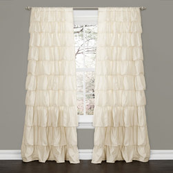 Lush Decor - Lush Decor Ivory 84-inch Ruffle Curtain Panel - Play dress up with your windows when you hang this charming ruffle curtain panel. Cascading levels of ruffles ensure a sweet look, while the ivory color is neutral enough to work in any room. The rod pocket makes the hanging process a breeze.
