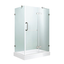 """VIGO Industries - VIGO 36 x 48 Frameless 3/8"""" Clear/Chrome Shower Enclosure, With Right Base - Update your bathroom with this uniquely stylish and totally frameless VIGO rectangular-shaped shower enclosure"""
